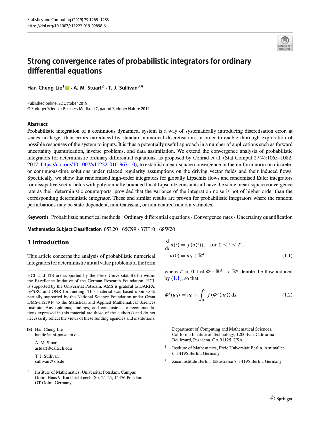 Strong convergence rates of probabilistic integrators for ordinary differential equations