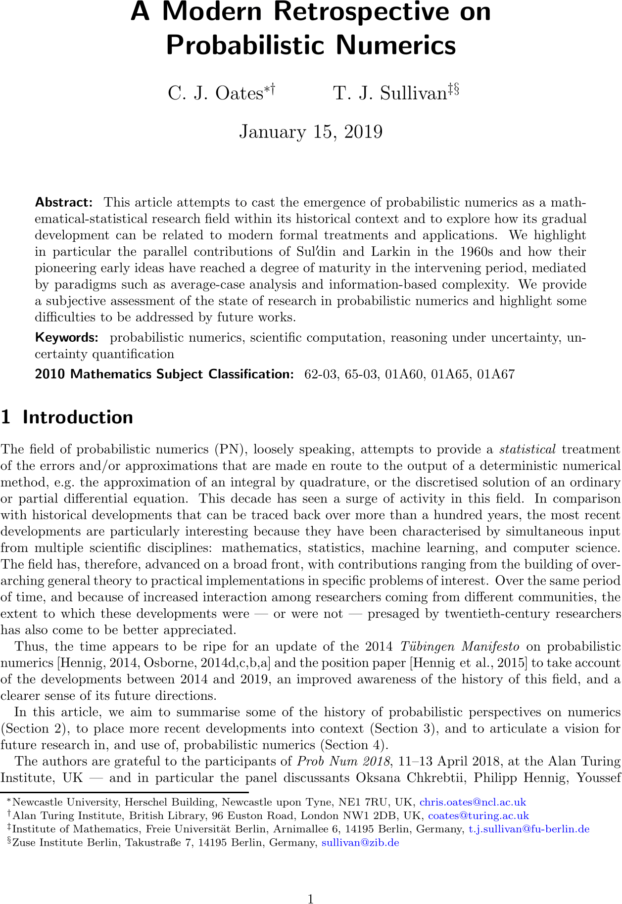 A modern retrospective on probabilistic numerics